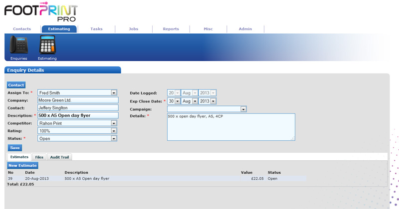 screen of of FootPrint Pro sales Enquiry page